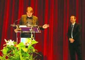 Lors des voeux. Jean-François Dortier et Jean-Marc Fognini