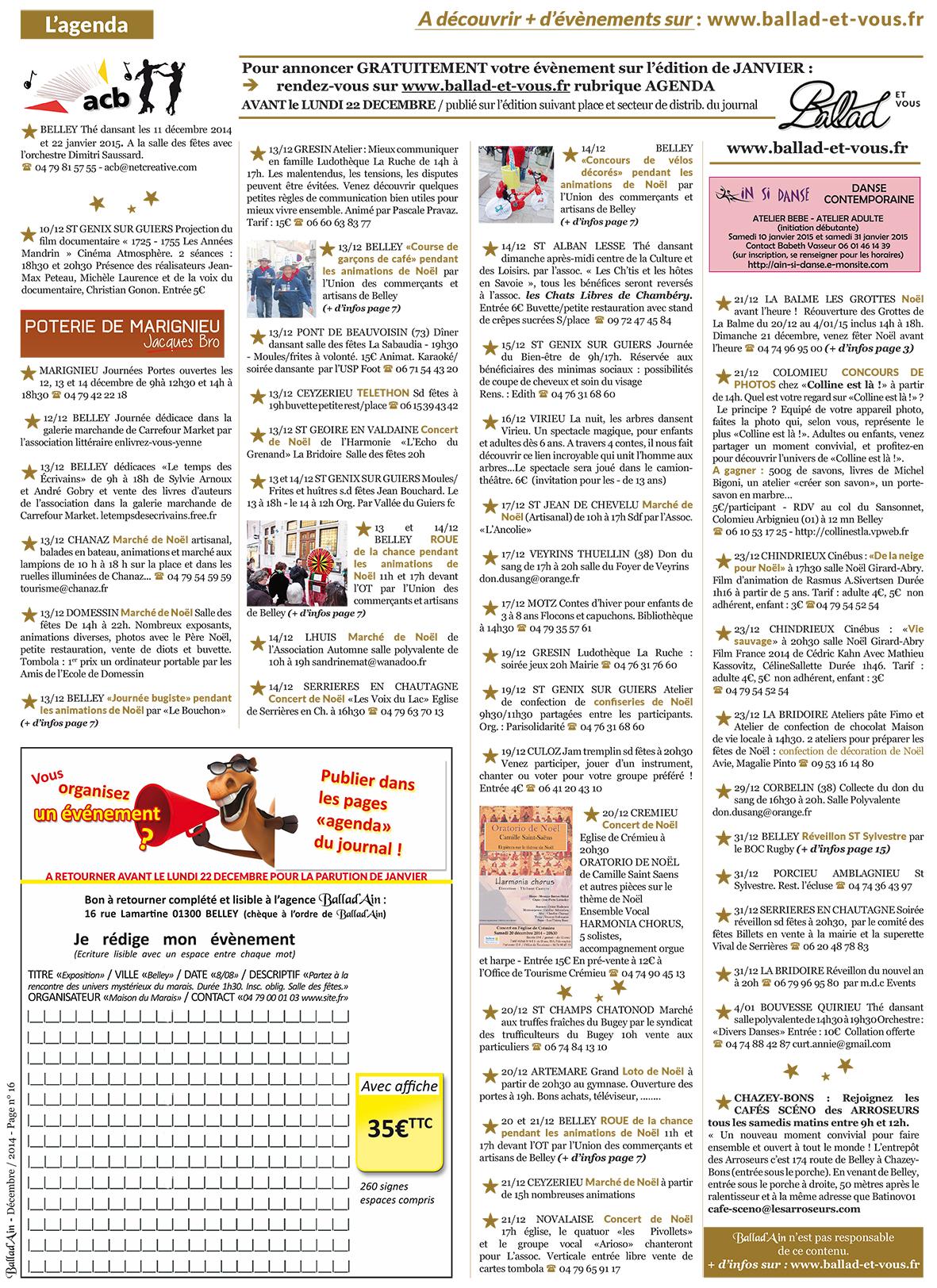 Page 16 Agenda ballad et vous
