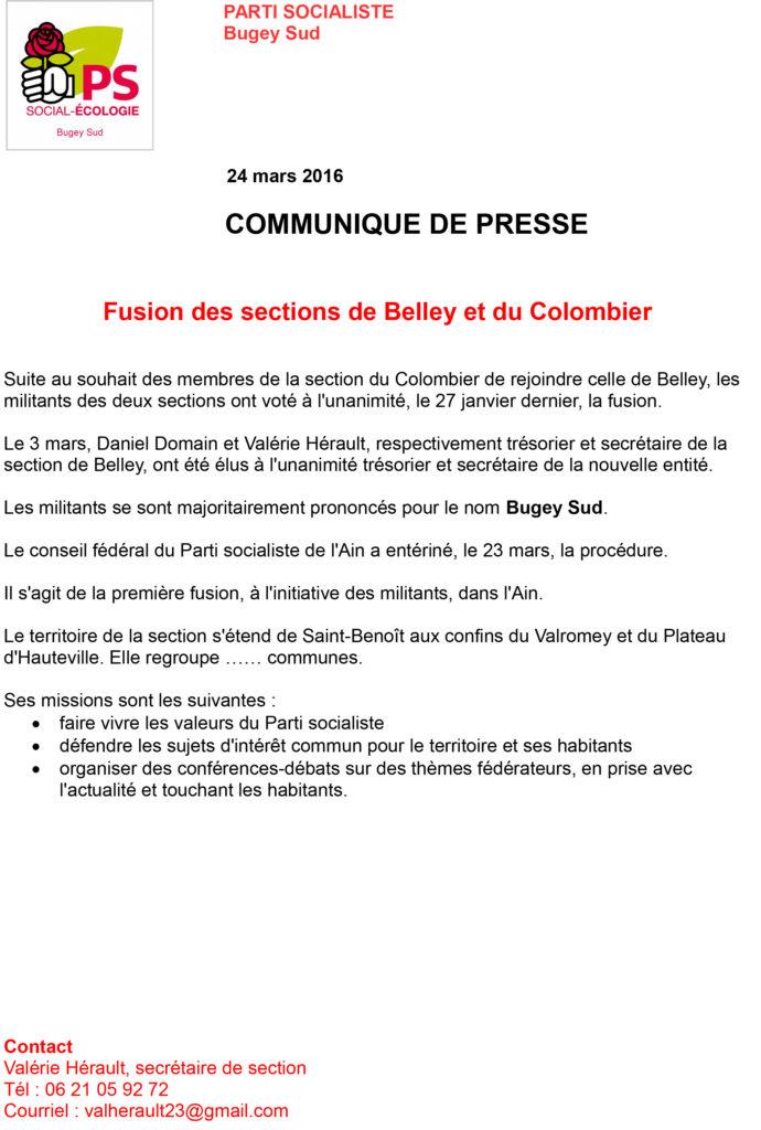 Fusion des sections de Belley et du Colombier PS ballad et vous