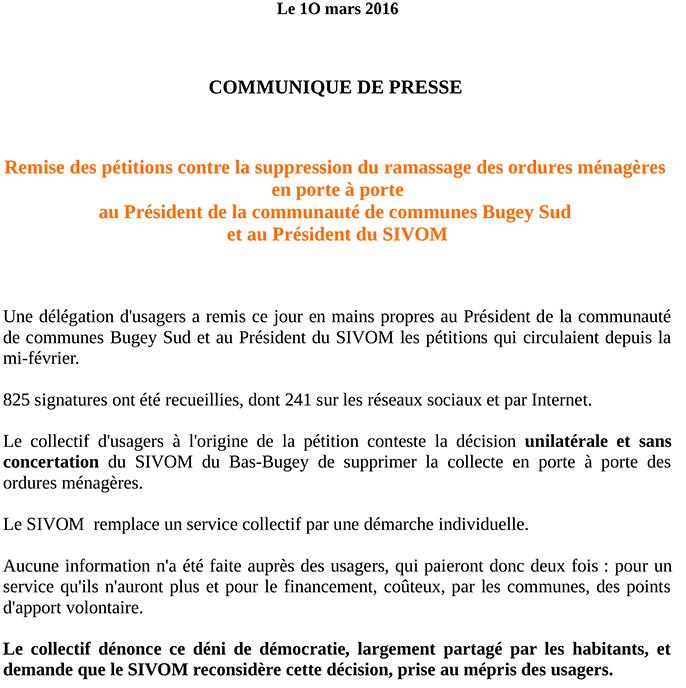 SIVOM pétitions contre la suppression du ramassage des ordures ménagères ballad et vous