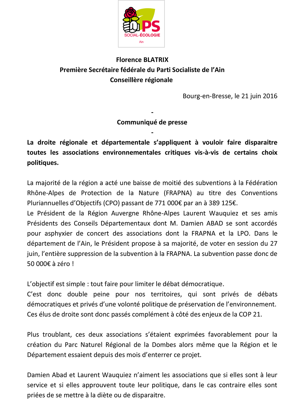 CP du Parti Socialiste de l'Ain Suppression des subventions à la FRAPNA ballad et vous