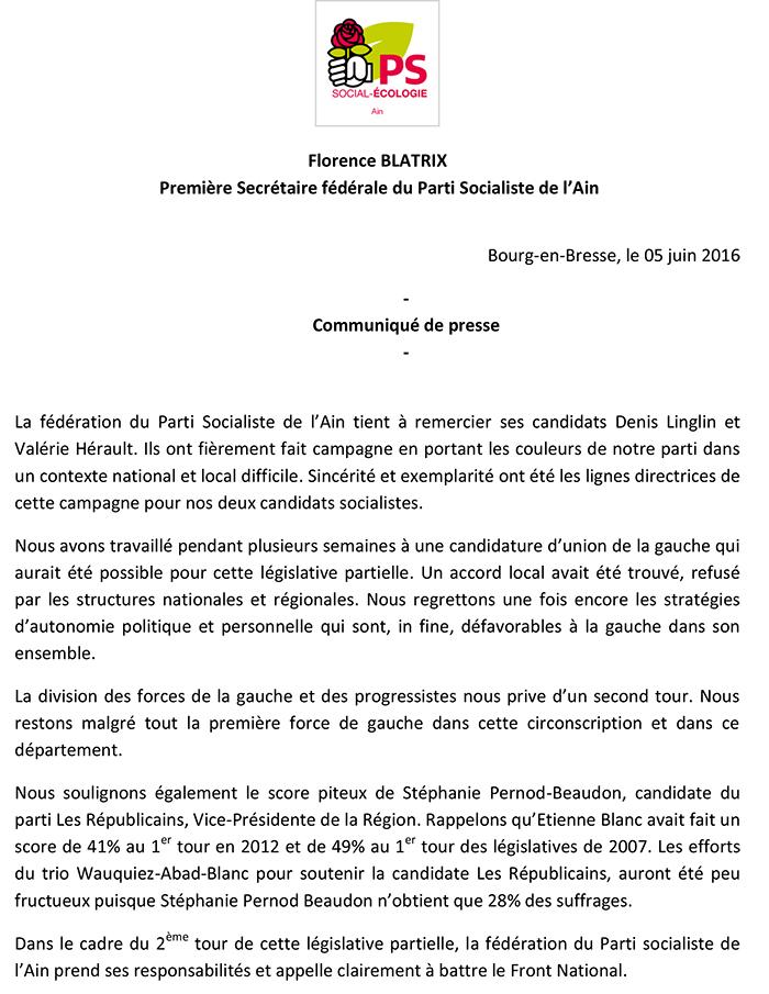 CP du Parti Socialiste de l'Ain législative circo 0103 ballad et vous