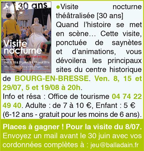 Visite nocturne théâtre Bourg en Brasse ballad et vous