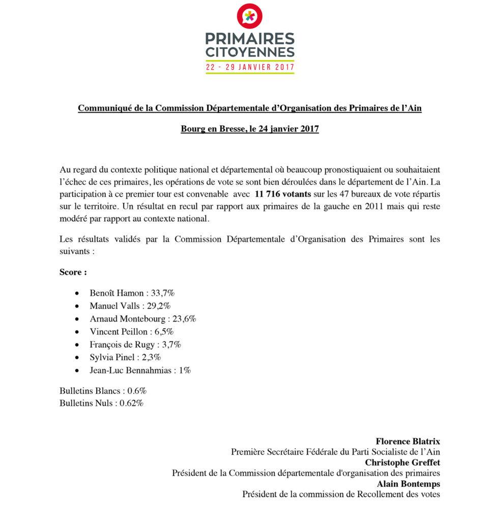 Communiqué de la CDOP 01 - résultats du 1er tour des primaires